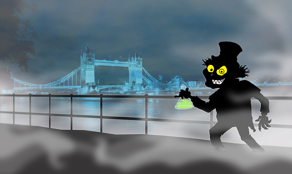 Mr Hyde lurks in front of London Bridge