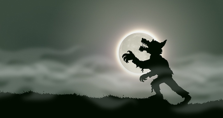 A werewolf in the moonlight. An illustration from Timothy Young's book They're Coming!