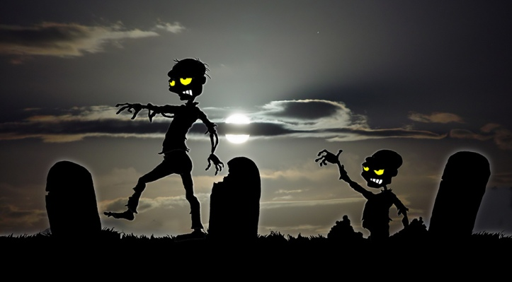 Zombies in a graveyard from an early version of They're Coming!