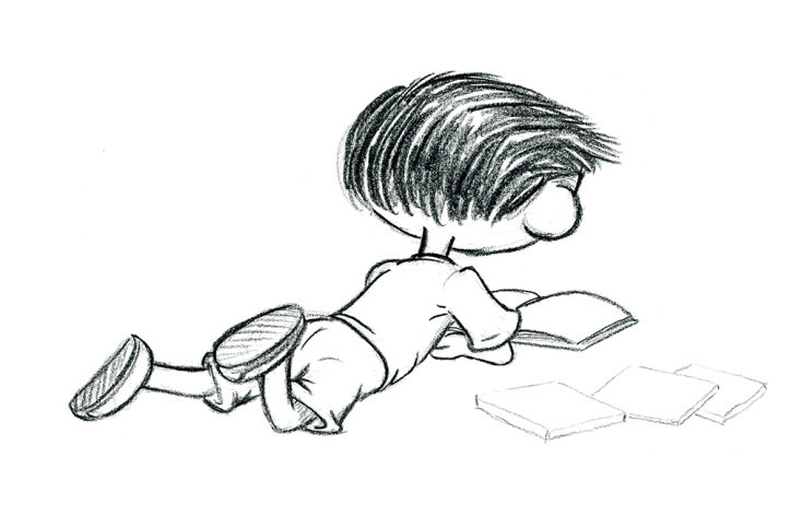 "A sketch of Max reading from author/illustrator Timothy Young's ""I Hate Picture Books!"""