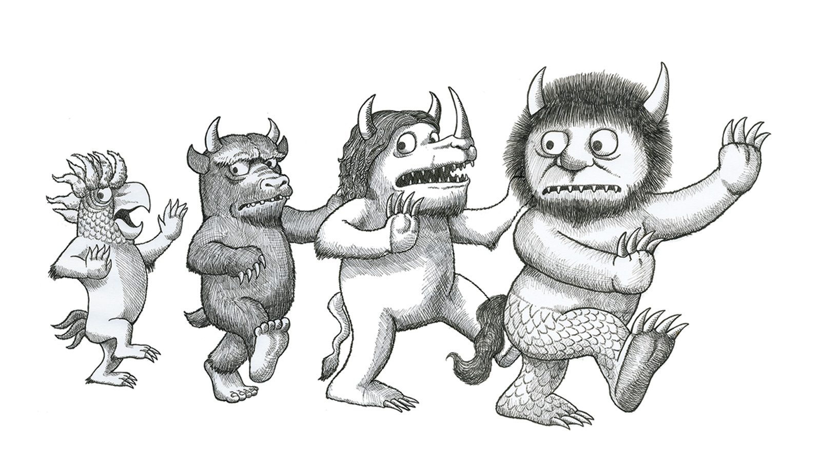 "Author/illustrator Timothy Young's version of Maurice Sendak's Wild Things from  ""I Hate Picture Books!"""
