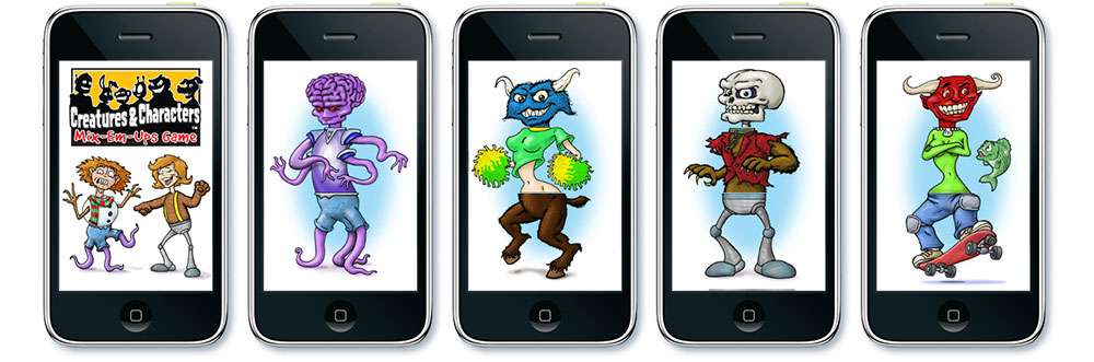 images from the short-lived iPhone app Creatures & Characters Mix-Em-Ups created by Timothy Young