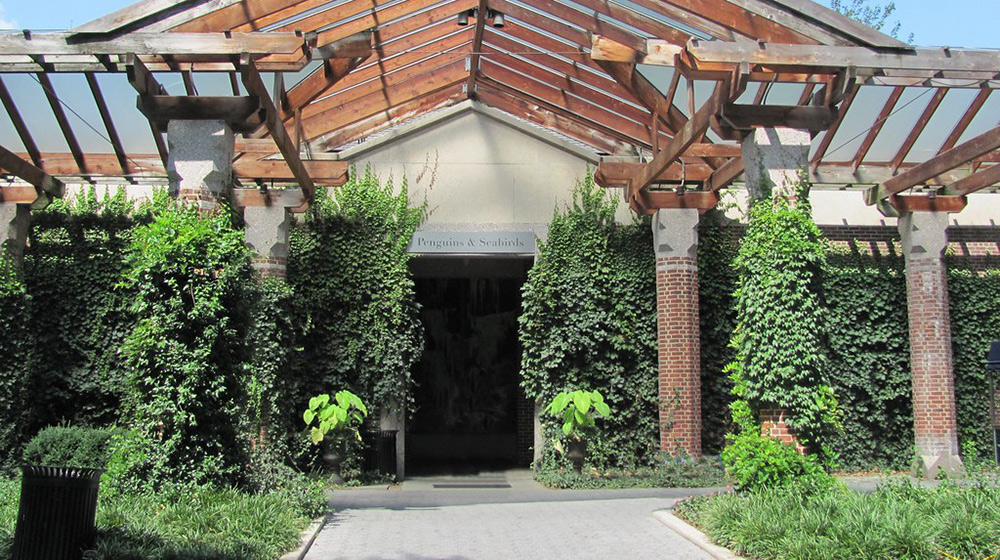 The entrance to the Penguin House at the Central Park Zoo.