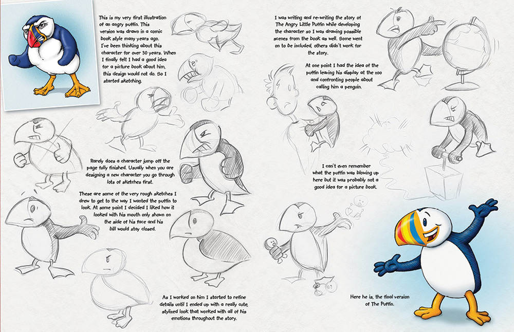 The puffin spread from author/illustrator Timothy Young's book More Creatures and Characters.