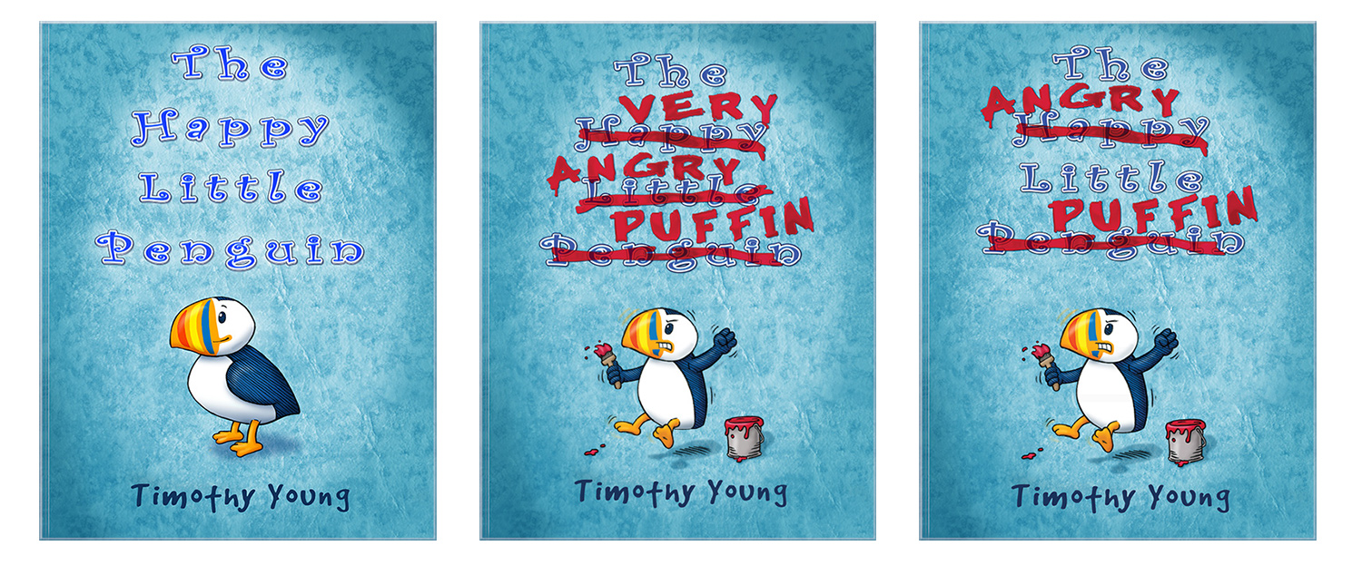 Alternate covers for author/illustrator Timothy Young's book The Angry Little Puffin