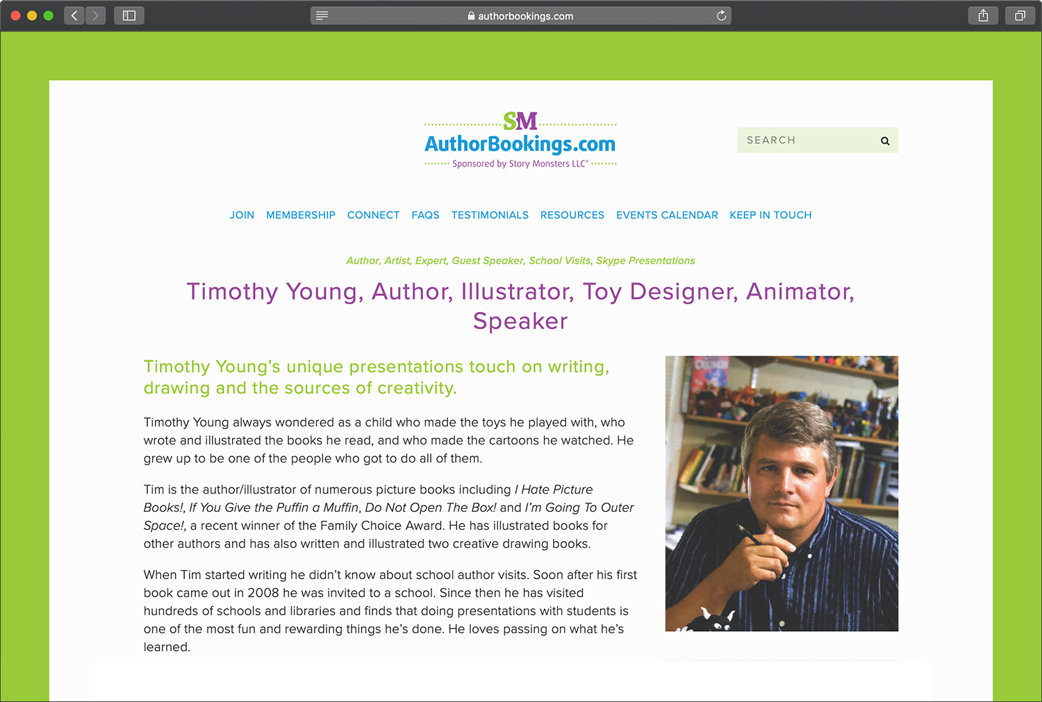 Author/Illustrator Timothy Young's listing on AuthorBookings.com