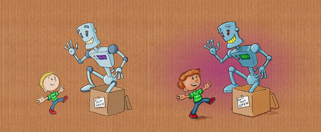 "An early sketch of the robot, side by side with the final art from author/illustrator Timothy Young's ""Do Not Open The Box"""