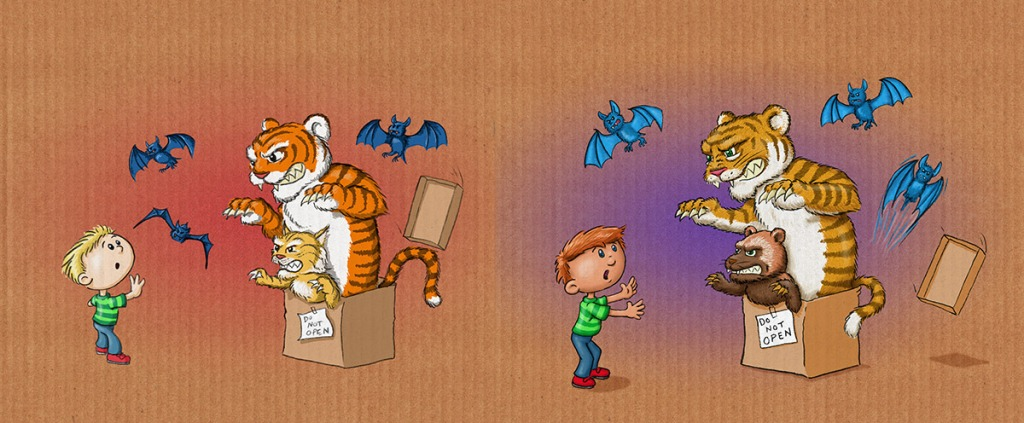 "An early sketch of the tiger, side by side with the final art from author/illustrator Timothy Young's ""Do Not Open The Box"""