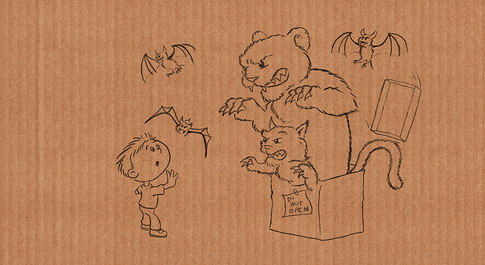 "An early sketch from author/illustrator Timothy Young's ""Do Not Open The Box"""