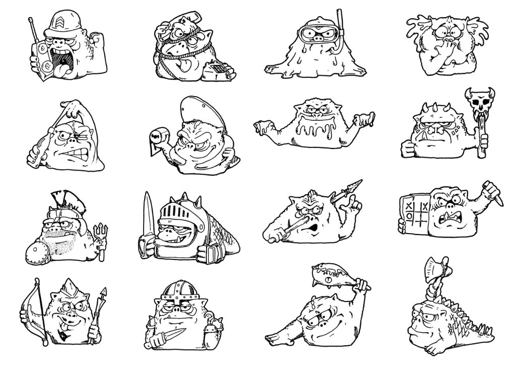 Mini-Boglins design drawings by Timothy Young